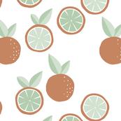 Fruity garden paper cut oranges fruit Scandinavian style strawberry banana smoothie botanical minimal trend design spring citrus orange mint green