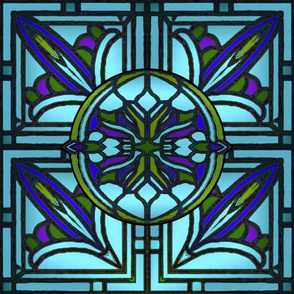 Stained Glass Golden Design in Blue