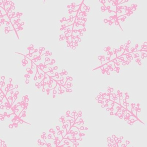 Delicate garden raw brush branch Scandinavian style winter pink gray