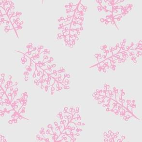 Delicate garden raw brush branch Scandinavian style winter pink gray