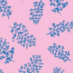 Delicate garden raw brush branch Scandinavian style winter classic blue pink