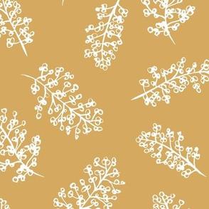 Delicate garden raw brush branch Scandinavian style fall  summer honey yellow