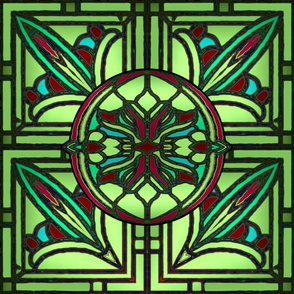 Stained Glass Golden Design in Lime Green