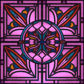 Stained Glass Golden Design in Pink and Mauve