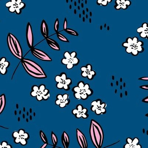 Delicate flower garden and lush green leaves and poppy seeds classic blue pink