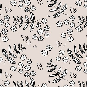 Delicate flower garden and lush green leaves and poppy seeds sand beige MEDIUM