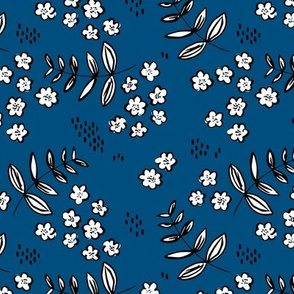 Delicate flower garden and lush green leaves and poppy seeds classic blue navy night MEDIUM