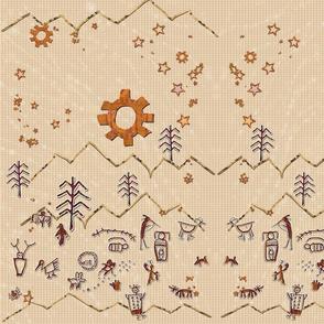 Petroglyphs on Burlap 24x36