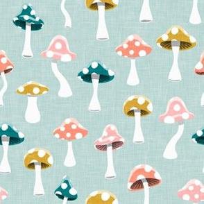 Multi colored  Mushrooms - light mint - LAD19