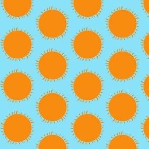 Orange Sun Pops on Tropical Sky Blue