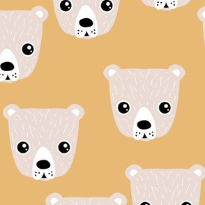 Little baby grizzly bear Scandinavian woodland animal portrait illustration neutral honey yellow