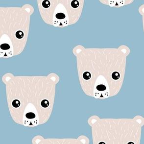 Little baby grizzly bear Scandinavian woodland animal portrait illustration cool blue boys