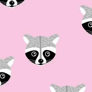 Little baby raccoon Scandinavian woodland animal portrait illustration soft gray pink girls