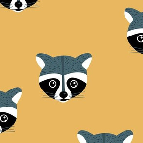 Little baby raccoon Scandinavian woodland animal portrait illustration ochre yellow gray