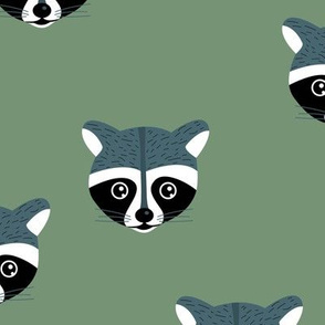 Little baby raccoon Scandinavian woodland animal portrait illustration forest green