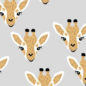 Little baby giraffe african safari animals minimal baby animal portraits neutral gray yellow