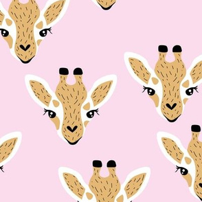 Little baby giraffe african safari animals minimal baby animal portraits pink yellow girls