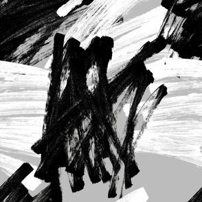 Jumbo scale dry brush black and white