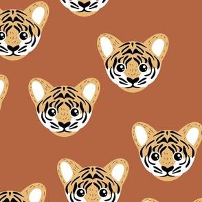 Little baby tiger safari jungle animal portrait friends illustration neutral rust ochre