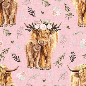 pink highland cows with leaves and pink floral