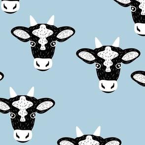 Little baby cow dairy farm animal portrait friends illustration cool blue boys
