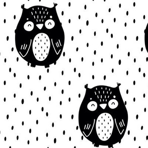 Sleepy owl - black on white