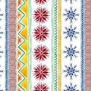 Ugly Sweater Watercolor Snowflakes and Stripes - Vertical Stripe