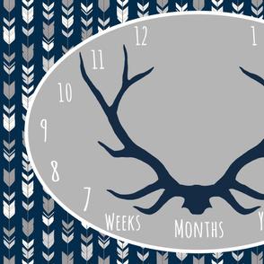 Milestone Blanket - Navy/Grey Antlers - Starlit Woodland Collection