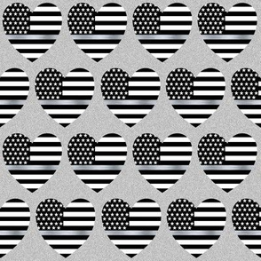 thin silver line flag in hearts on light grey