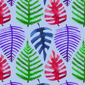 Vivid Watercolor Tropical Leaves with Blue Background