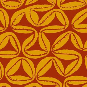 South Seas Tribal Tapa - Large Scale - Orange Red
