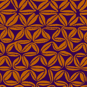 South Seas Tribal Tapa - Orange Navy