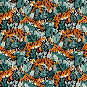 Bengal Tiger Teal Jungle (Small Version)
