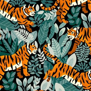 Bengal Tiger Teal Jungle (Medium Version)