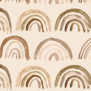 Neutral bronze rainbows on coffee background ★ watercolor brush stroke boho archs for modern nursery, home decor, bedding