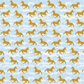 Golden Unicorns on Blue