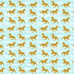 Unicorns on Teal Blue
