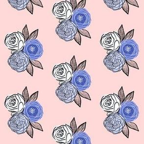 Modern floral bouquet on pink