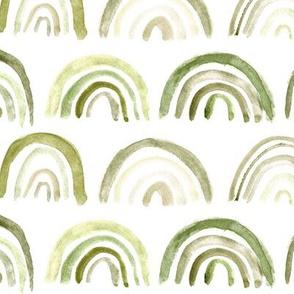 Khaki neutral rainbows ★ watercolor boho archs for modern home decor, nursery, bedding