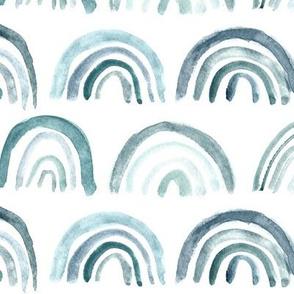 Denim blue watercolor rainbows ★ neutral painted archs for modern home decor, bedding, nursery