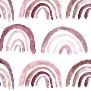 Burgundy rainbows ★ large scale watercolor brush stroke archs ★ neutral purple design for modern home decor, bedding, nursery