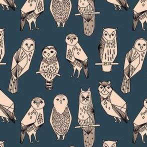 SMALL - owl // blush and navy hand-drawn illustration bird owl by Andrea Lauren