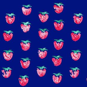 Strawberry Print Dark Blue