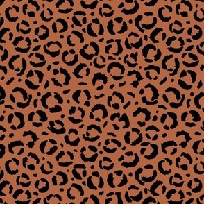 Leopard love animal print surface pattern art licensing abstract minimal rusty copper brown