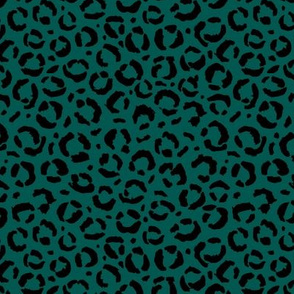 Leopard love animal print surface pattern art licensing abstract minimal emerald forest green