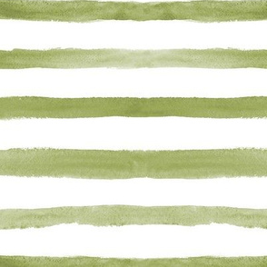 Olive green stripes ★ watercolor painted horizontal stripes for modern home decor, bedding, nursery