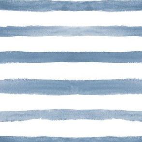 Denim blue watercolor stripes ★ painted horizontal stripes for modern home decor, bedding, nursery