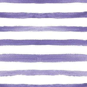 Amethyst watercolor stripes ★ soft purple painted horizontal stripes for modern home decor, bedding, nursery