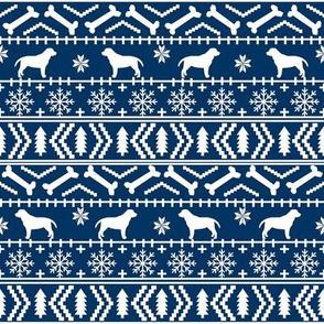labrador fair isle fabric - dog silhouette fabric, dog fabric, labrador silhouette fabric - navy