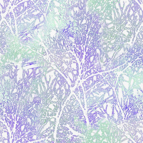 Tangled Tree Branches in Lilac and Green